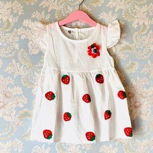 NWT White Sleeveless Strawberry Dress Size 12-18m